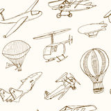 Doodle aviation seamless pattern Vintage illustration for identity, design Stock Image