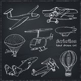 Doodle aviation set Vintage illustration for identity, design Royalty Free Stock Photos