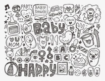Doodle baby background Stock Photo