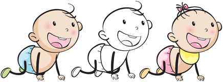 Doodle baby boy and girl Royalty Free Stock Photo