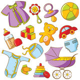 Doodle Baby Icon Set Stock Photos