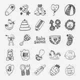 Doodle baby icon sets Stock Images