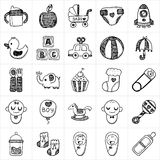 Doodle baby icon sets Royalty Free Stock Image