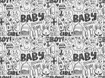 Doodle baby seamless pattern background Royalty Free Stock Photos