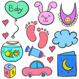 Doodle of baby theme with toys royalty free illustration