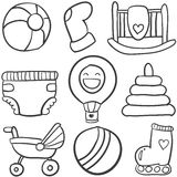 Doodle of baby toys set Stock Image
