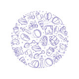 Doodle baby toys vector icons in circle design Royalty Free Stock Photography