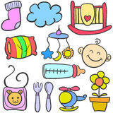 Doodle of baby various toys Royalty Free Stock Images
