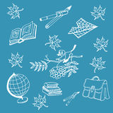 Doodle back to school on blue  background. Vector illustration 1 september Doodle back to school Stock Images
