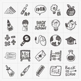 Doodle back to school icon set Stock Photo