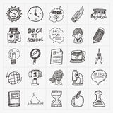 Doodle back to school icon set Royalty Free Stock Photography