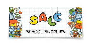 Doodle Back to School sale banner Royalty Free Stock Images