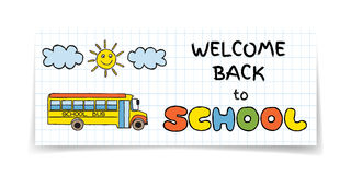 Doodle Back to School sale banner Royalty Free Stock Photography