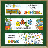 Doodle Back to School sale banners Royalty Free Stock Photo