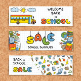 Doodle Back to School sale banners Royalty Free Stock Images