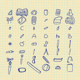 Doodle back to school set. Hand drawn and simple Stock Photography