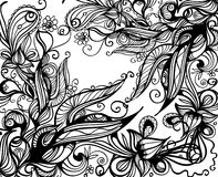 Doodle background. Hand-drawn monochromatic floral background Royalty Free Stock Images