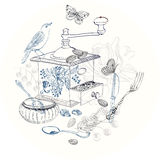 Doodle background with coffee mill, flowers and birds Stock Photos