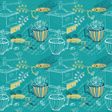Doodle background with coffee mill, flowers and birds, seamless Royalty Free Stock Photos