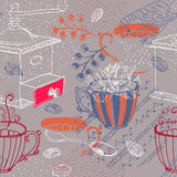 Doodle background with coffee mill, flowers and birds, seamless Royalty Free Stock Photo