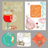 Doodle background with mulled warm wine and fruits Stock Image