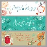 Doodle background with mulled warm wine and fruits Stock Photos