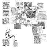 Doodle, the background rectangles filled with different textures Stock Photos