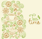 Doodle background for tea time Stock Photos