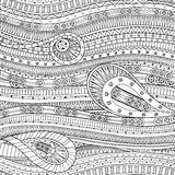 Doodle background in vector with doodle ethnic pattern. Stock Photo