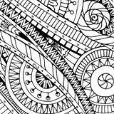 Doodle background in vector with doodles, flowers and paisley. Black and white. Stock Photos