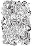 Doodle background in vector with  flowers, paisley.  Black and white. Stock Photos