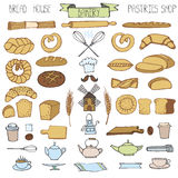 Doodle bakery,bread icons set.Colored vintage. Doodle vector.Bakery,bread,pastries utensils icons set.Colored vintage elements for logo,label,menu,cafe shop stock illustration