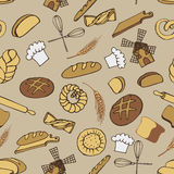 Doodle bakery,bread seamless pattern.Colored Stock Images