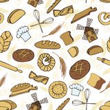 Doodle bakery,bread seamless pattern.Colored. Doodle vector.Bakery,bread,pastries utensils icons seamless pattern,background,ornament.Colored vintage elements vector illustration