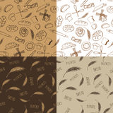 Doodle bakery,bread silhouette seamless pattern Stock Photography