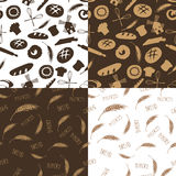 Doodle bakery,bread silhouette seamless pattern Royalty Free Stock Photos