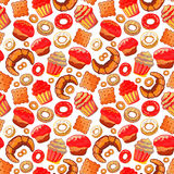Doodle .Bakery,Cakes and dessert,pastries ,lettering seamless pattern.Colored vintage icons,sweet elements background. Stock Photos
