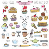 Doodle bakery,Cakes icons set.Colored vintage elements Stock Images