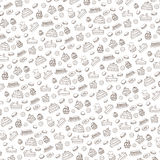 Doodle bakery,Cakes pattern.Vintage linear background Stock Images
