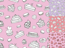 Doodle bakery,Cakes seamless pattern.Vintage linear set Stock Photos