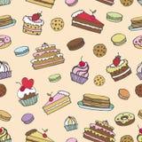 Doodle bakery,Cakes seamless pattern.Vintage Stock Photos