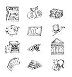 Doodle Bank icon, hand drawn illustration. Royalty Free Stock Photo
