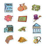 Doodle Bank icon set , hand drawn illustration Stock Photography