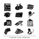 Doodle Bank icon set , hand drawn illustration. black color.  Stock Photography