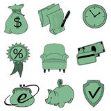 Doodle banking icons. Set of doodle icons finance and loans in green. You can easily change colors Royalty Free Stock Photos