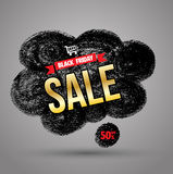 Doodle banner black friday sale. Stock Image