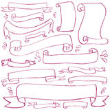 Doodle Banners. Banners and scrolls drawn in a doodled style Royalty Free Stock Photo