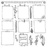 Set of cute hand drawn bullet journal's elements isolated on white background. Doodle banners isolated on white background. Days of week, notes, frames Stock Illustration