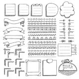 Doodle banners and others design elements for bullet journal. Bullet journal hand drawn vector elements for notebook, diary and planner. Doodle banners isolated stock illustration