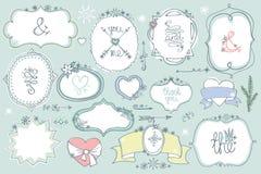 Doodle barwić etykietki, odznaki, rama, wystroju element Zima set Zdjęcie Royalty Free